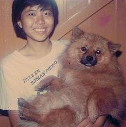 A much younger me with my beloved dog, Rollie (1981 - 1996)