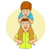 Father with son on shoulder