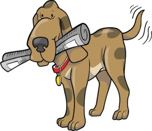 Happy Hound Dog Fetching a Newspaper Clipart Graphic Illustration