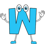letter W cartoon alphabet
