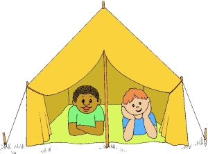 boys in a camping tent