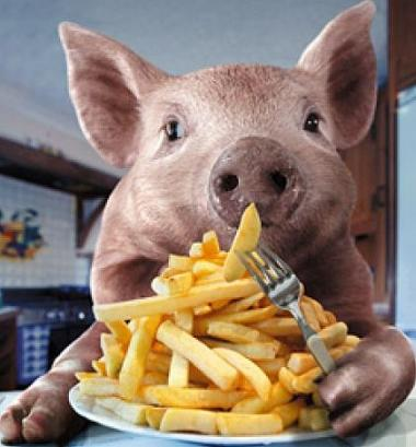 piggy with french fries