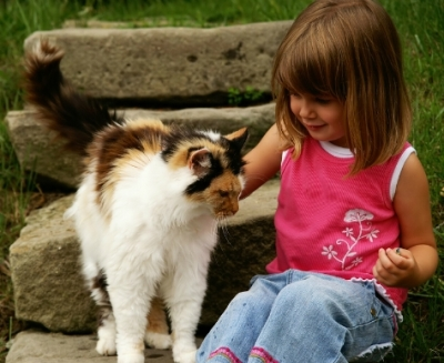 little girl and cat