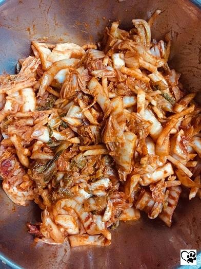 mixed the kimchi
