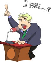 Politician Speaking At Podium Cartoon Clipart 3516