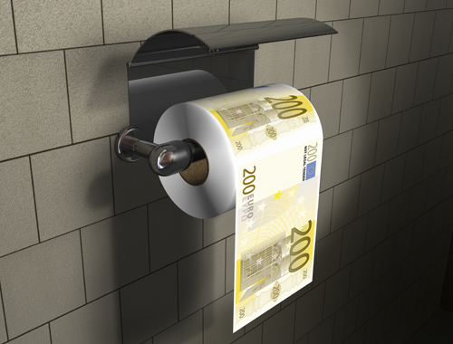 money toilet roll