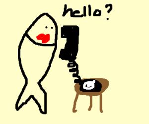 fish and phone