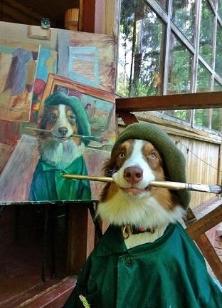 cute dog artist